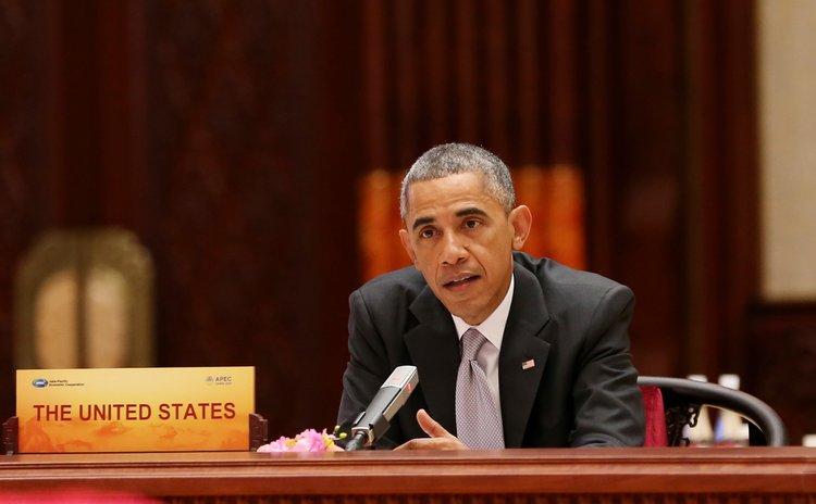 BEIJING, Nov. 11, 2014 (Xinhua) -- U.S. President Barack Obama speaks during the 22nd APEC Economic Leaders' Meeting at Beijing,China, Nov. 11, 2014.