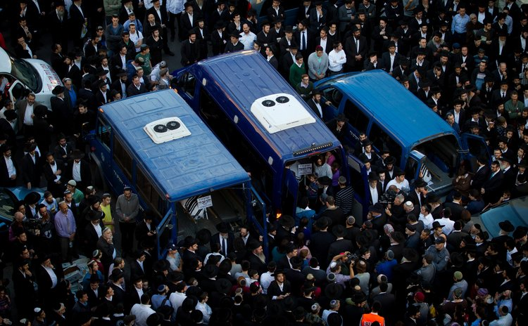 JERUSALEM, Nov. 19, 2014 (Xinhua) -- A funeral of the victims near the scene of the attack at a synagogue in the Har N, Jerusalem, on Nov. 18, 2014.