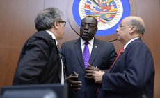 Sir Ron Sanders, left, at the OAS