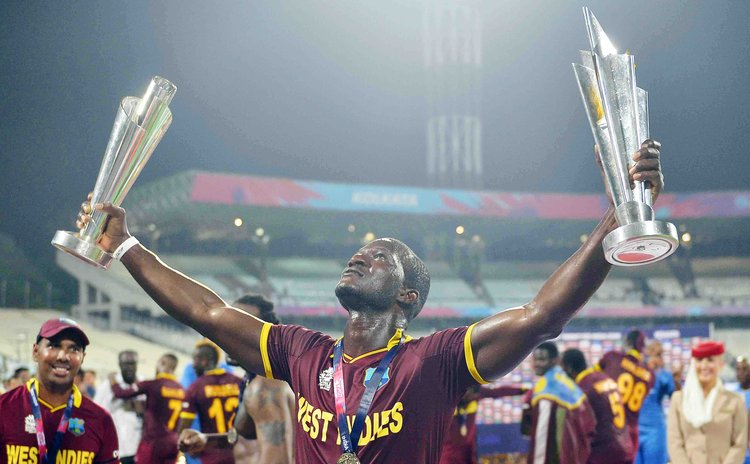Sammy celebrates World T20 win