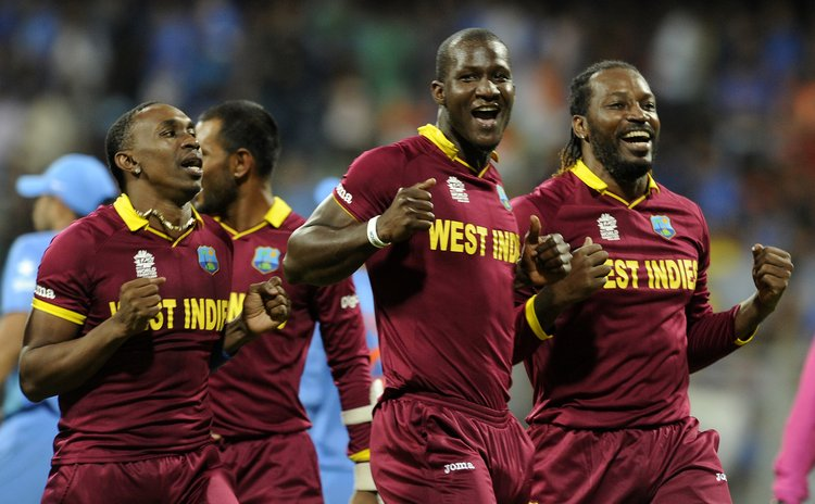 Proud West Indian cricketers celebrate as they make ICC T20 finals