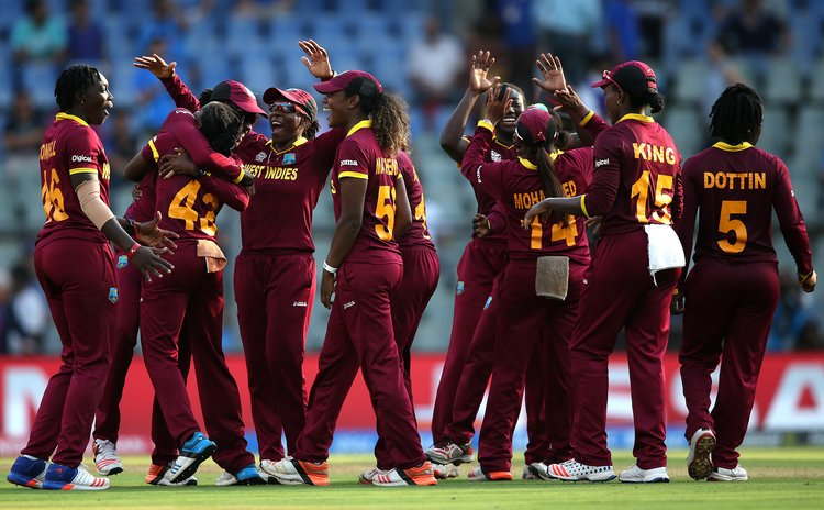 Windies women  celebrate victory and place in the finals of the ICCWT20 competition