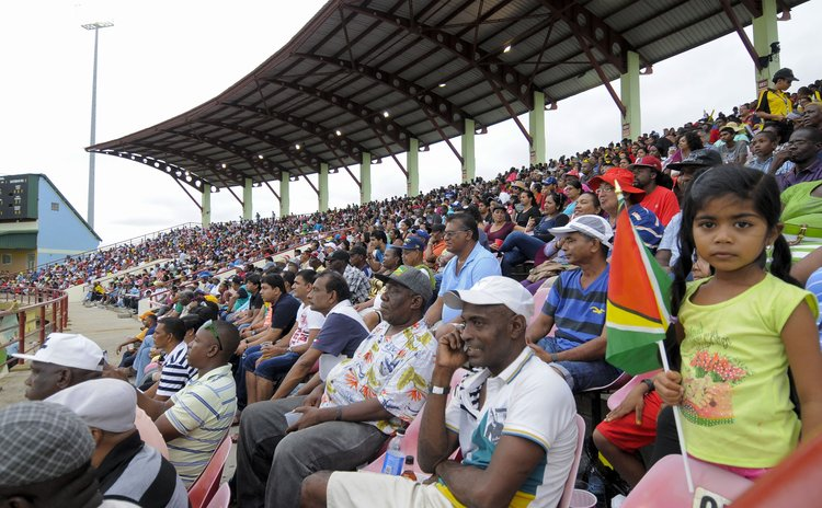 West Indies fans at the Guyana Stadium on Sunday