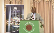 Prime Minister Roosevelt Skerrit speaks at signing ceremont of three resorts at the State House