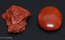 This photo shows rough and shaped & polished versions of red jasper taken from Mr. Shillingford's place in February 2016 (Photo courtesy of Lu Szumskyj)