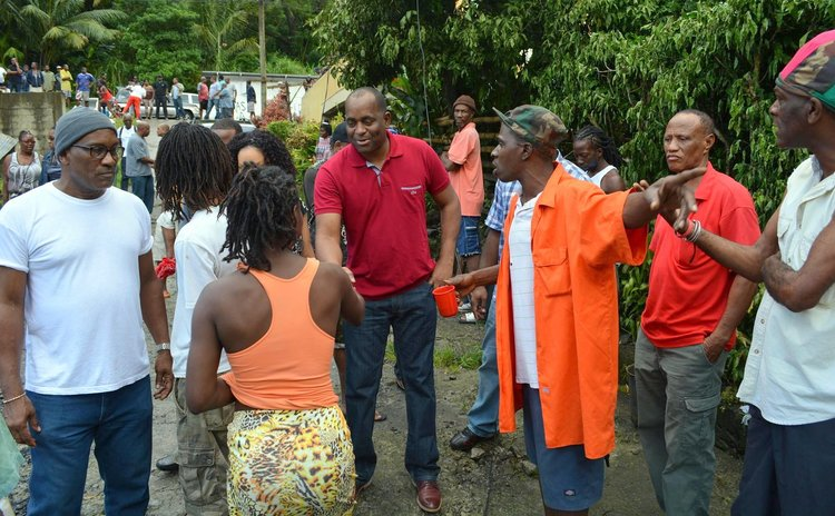 PM skerrit meets residents of Silver Lake after the fire (Photo supplied by the office of the Prime Minister)