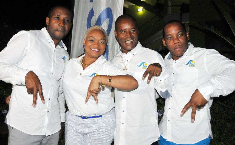 "Astaphan A team: Left to right- Miguel Labadie, Jael Joseph, Felix Henderson and Eirdrington "" D.J. Mystic"" James"