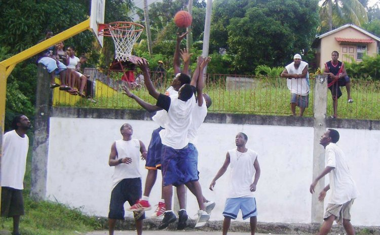 "Action in a ""4-on-4 Hoop Jam"" game, Grand Bay"