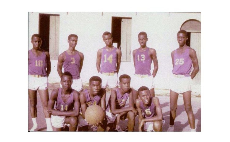 SMA, 1st Knock-out Champs, (1966). Std/ing (L-R): Mascoten Zamore, Atherly Winston, McFord Zamore, George Daniel, Bernard Thomas. Stooping: E Charles, B.Sorhaindo, Eddie Royer, Daniel Shillingford