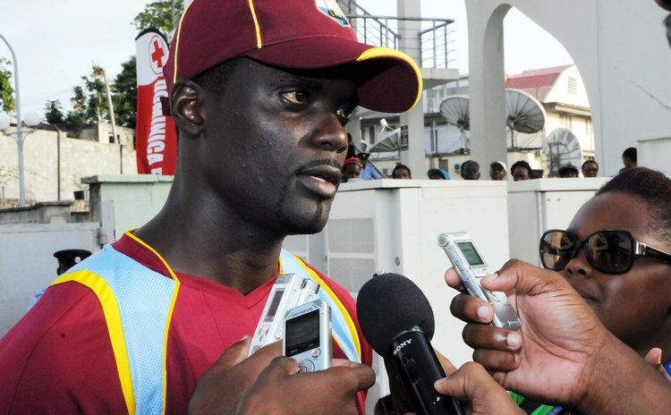 Andre Fletcher, right front, during the WI vs New Zealand ODI in Dominica in 2014