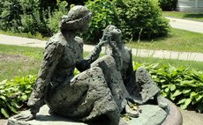 A bronze sculpture of Keller and Sullivan in Massachusetts USA (Wikepedia)