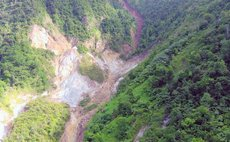 A close up of area in Soufriere where landslide occured