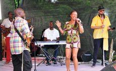 At the 2016 Jazz and Creole Festival  2016: Michele Henderson and Cameron Pierre (centre and left) perform