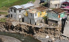 Damaged houses near Bath Estate after Hurricane Maria