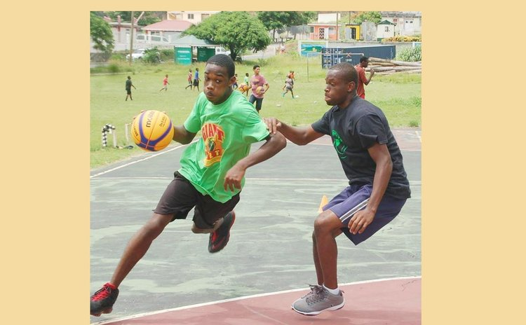 Action in local half-court game. Photo Courtesy DABA Facebook Page