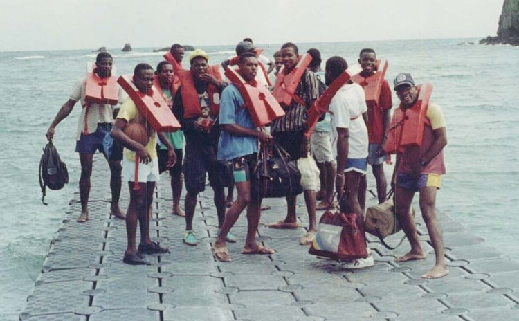 REBOC All-Stars at Anse De Mai about to depart for Marie Galante, 1991.    Photo Courtesy 'Jockey' Henderson