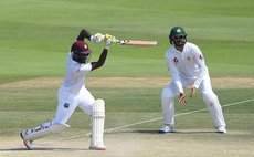Blackwood drives during second innings of second Test against Parkistan
