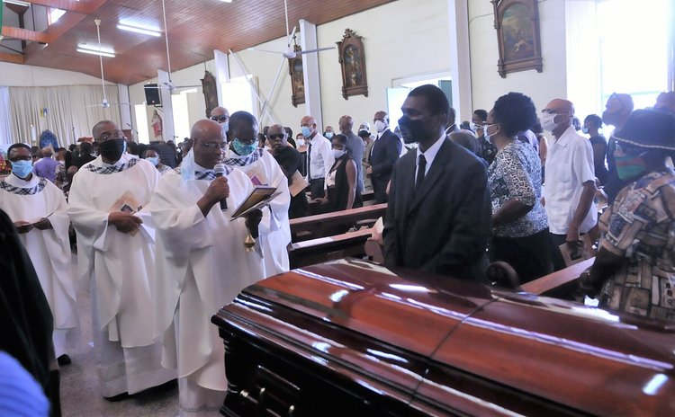 "Friends, relatives and colleagues attend the funeral service of the late Attorney at Law, Magistrate, broadcaster and dramatist Michael Emmanuel ""Mikey"" Bruney 6"