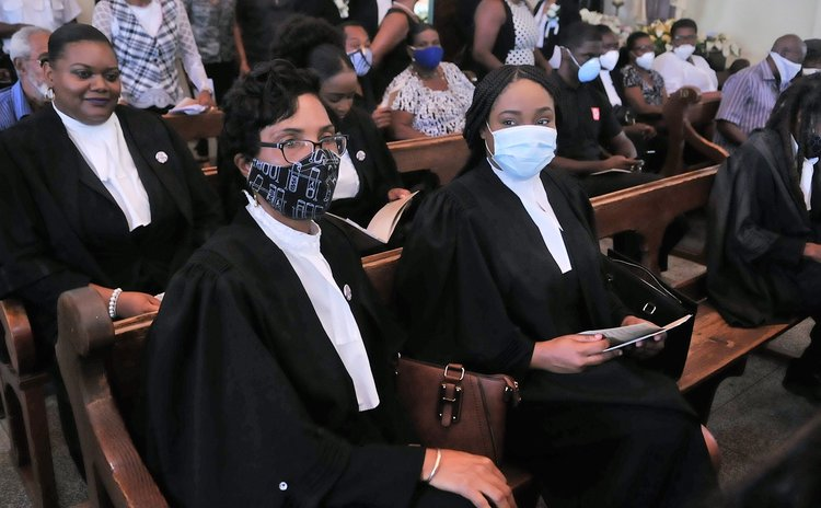 """Friends, relatives and colleagues attend the funeral service of the late Attorney at Law, Magistrate, broadcaster and dramatist Michael Emmanuel """"Mikey"""" Bruney 9"""