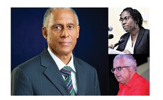 Clockwise from left: Justice Saunders, Shillingford and Astaphan