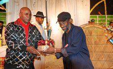 Two great Calypsonians: Pat, the writer, left, and the Mighty Sparrow