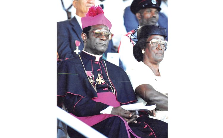 Cardinal Felix (left front) at a National Day event in 1999