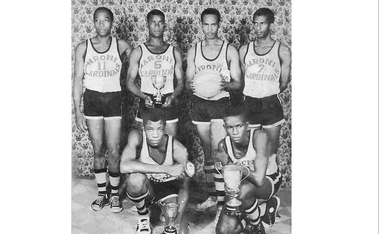 Original (1968) 6-member Caroni Cardinals, with their 4 awards. Standing (L-R): Herbert Thomas, Cuthbert Jno. Baptiste, Phillip Winston, Wilmoth LeBlanc. Stooping: B. Thomas (L), Clem Jno. Baptiste