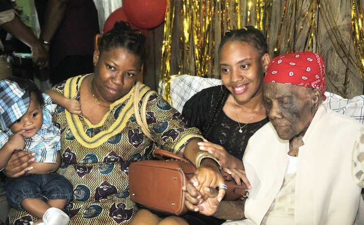 Centenarian Ma Jazz in the company of relatives and friends