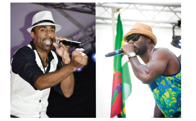Current basketballer, Daddy Chess, left and retired basketballer Clint Henderson perform