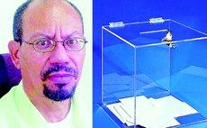 Steven LaRocque and example of transparent ballot box