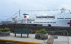 Chinese medical ship at the Roseau Cruise Ship Berth