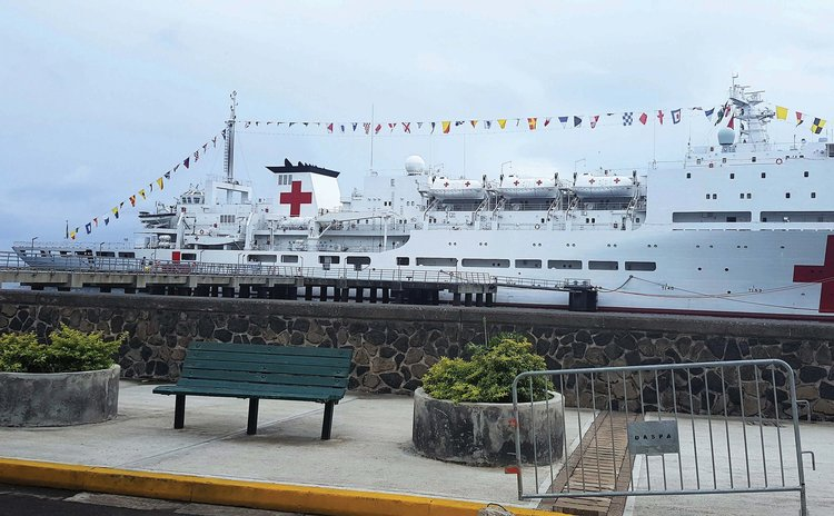 Chinese medical ship at the Roseau Cruise Ship Berth
