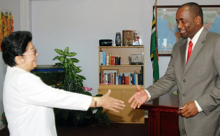 File Photo: PM Skerrit meets Chinese official in 2007 at his office