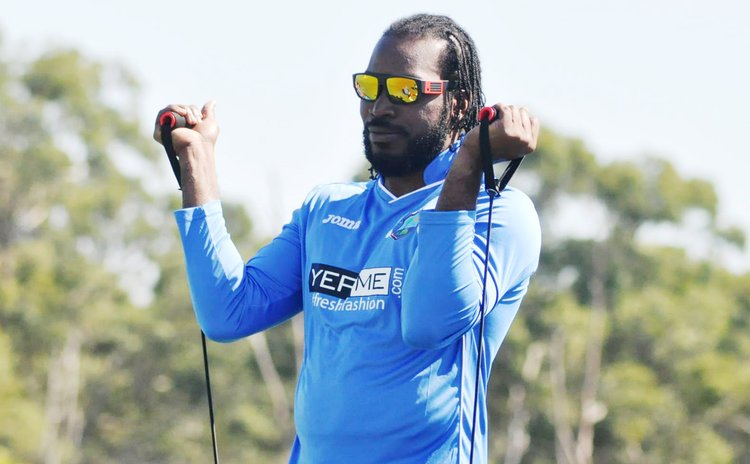 Chris Gayle trains