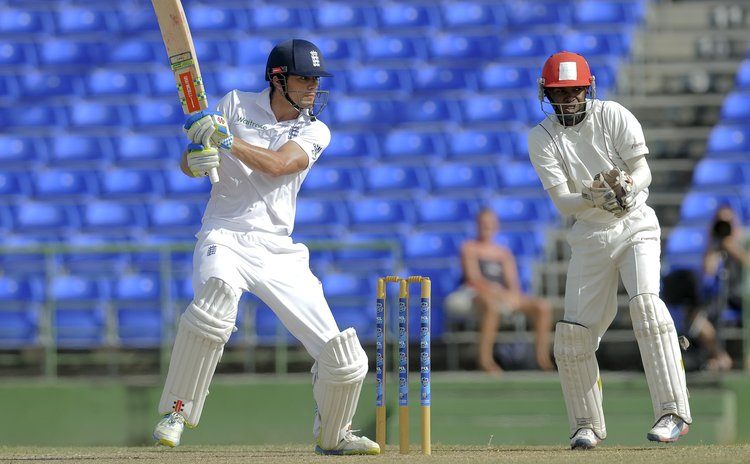 Cook cuts during his innings today in St Kitts