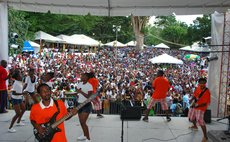 Band plays before large crowd at Creole in the Park