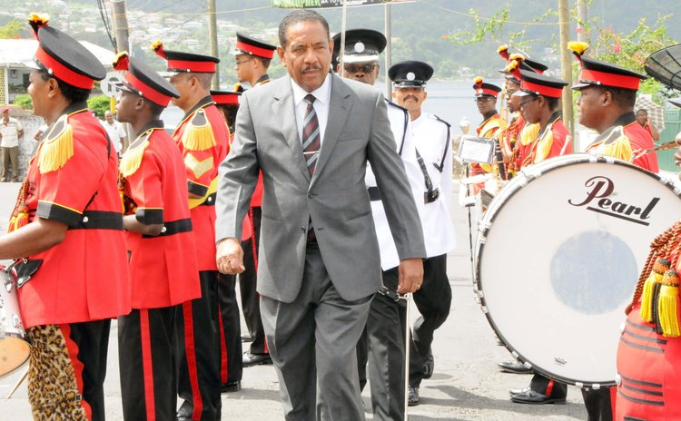 President Savarin and Government Band outside parliament on Wednesday 23 July 2014