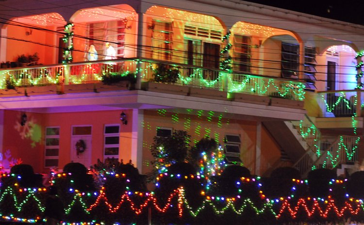 Home of Ms. Elvin at Canefield decorated with an array of lights