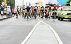 Cyclists at the starting point of the OECS race this morning