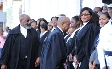 High Court judge Errol Thomas and lawyers at officail ceremony of new law year