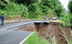Damaged road in the Roseau Valley