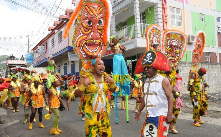Carnival Band parade in Roseau, Carnival 2016