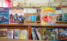 Books on display at the Roseau Primary School library