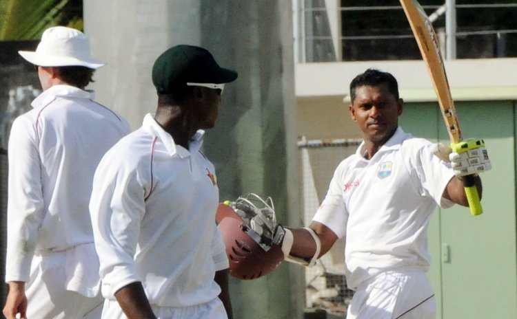 Chanderpaul scored a century against Zimbabwe at the Windsor Park Stadium in Roseau