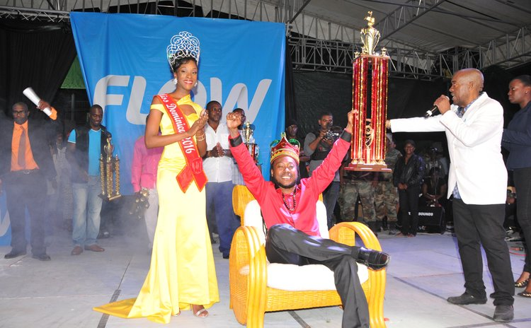 Dice celebrates after he was crowned by Tasia Floissac, Miss Dominica 2016