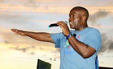 UWP political leader Lennox Linton at a UWP pre-election rally  at Pottersville in 2014