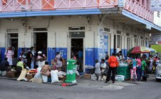 Vendors near the A.C. Shillingford supermarket