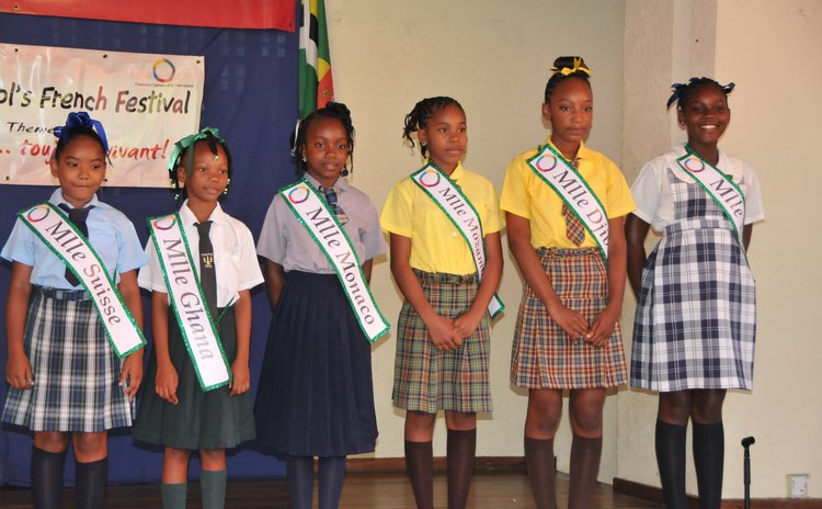 Competitors of the Miss Francophone Pageant pose at the opening of Francophonie activities