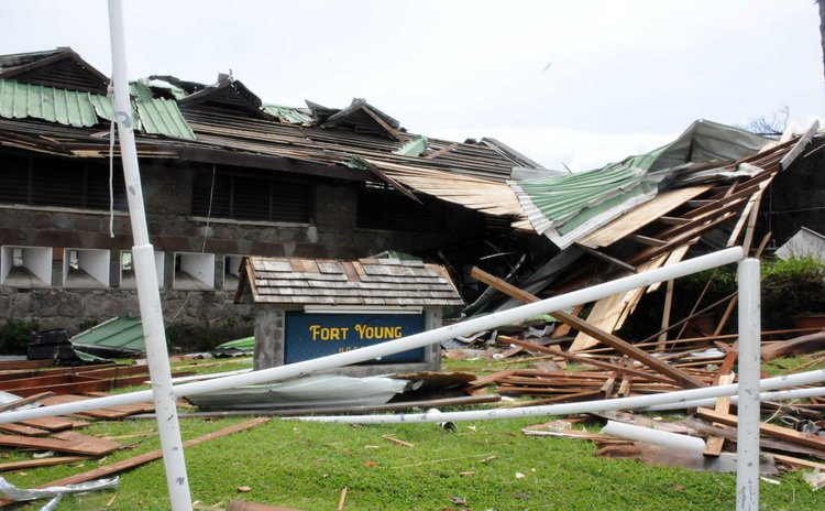 Fort Young Hotel damaged by Maria