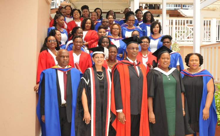 Staff and students of the UWI Open Campus Dominica